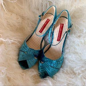 NWOT B.A.I.T. Sky Blue Velvet Heels from ModCloth